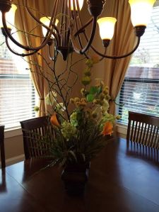 This silk arrangement was designed by Rebeca and would fit in any home or office!